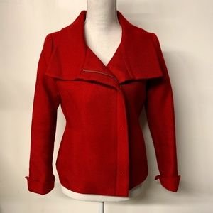Talbots Red Wool Blend Asymmetrical Zip Coat